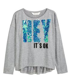 Jerseyshirt mit Druck | Graumeliert | Kinder | H&M DE