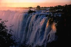 Victoria Falls at sunset from Zambia.