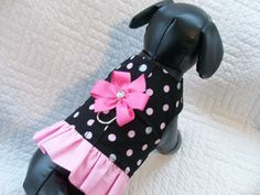 Small Black with Pink and Glitter Silver Polka Dots  Ruffle Custom Harness. $15.95, via Etsy.