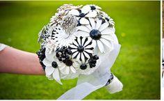 black & white brooch bouquet