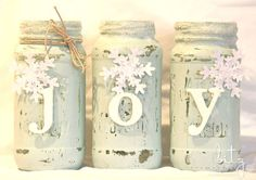 how to make painted snowy mason jars, christmas decorations, crafts, mason jars, seasonal holiday decor