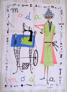 Vtg MILVIA Zucchi Milano~Moda~Fashion~Italy RARE Kitchen Dish Tea Towel UNUSED