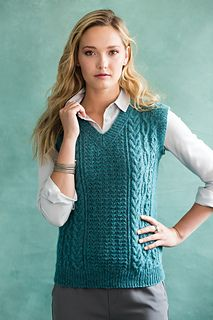 #06 V-Neck Vest by Patty Lyons. Vogue Knitting. Fall 2015. A classic cable vest with a variety of interesting stitch patterns. A must for every fall wardrobe!