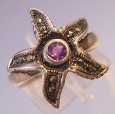 Starfish Amethyst Marcasite Sterling Silver by BrightEyesTreasures, $22.00