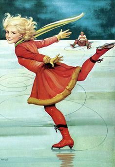 Vintage Winter Sports Skater illustration by Helge Artelius – Swedish) Vintage Christmas Cards, Christmas Images, Christmas Art, Christmas Gifts, Images Vintage, Vintage Postcards, Vintage Cards, Pin Up, Painted Ice Skates