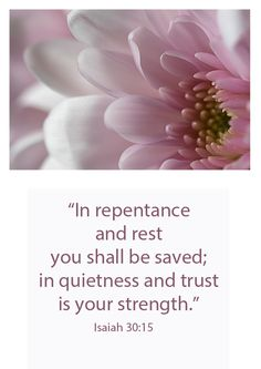 """Isaiah 30:15-16 (ESV) 15 For thus said the Lord God, the Holy One of Israel, """"In returning[a] and rest you shall be saved; in quietness and in trust shall be your strength."""" But you were unwilling, 16 and you said, """"No! We will flee upon horses""""; therefore you shall flee away; and, """"We will ride upon swift steeds""""; therefore your pursuers shall be swift."""
