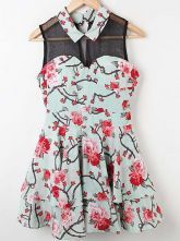 Blue Floral Lapel Sleeveless Chiffon Tiered Dress $39.68  #SheInside #hipster #love #cute #fashion #style #vintage