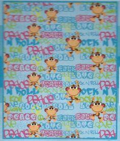 Love, Peace & Rock N Roll Monkey Plush Throw Blanket by American Kids. $32.46