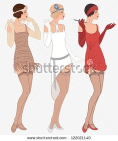 Flapper girls set: three young beautiful women of 1920s in different dresses by Gorbash Varvara, via ShutterStock
