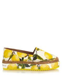 Dolce & Gabbana Lemon-print brocade flatform espadrilles