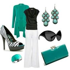 Fashionista Trends - I like these colors (except the white pants), but wide legs make my legs look longer. Fashionista Trends, Casual Outfits, Summer Outfits, Cute Outfits, Work Outfits, Outfit Work, Fashionable Outfits, Casual Clothes, Work Attire
