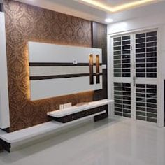 2 bhk residential project modern style bedroom by sharada interiors modern Lcd Unit Design, Lcd Wall Design, Tv Unit Interior Design, Tv Unit Furniture Design, Modern Interior, Latest Tv Unit Designs, Modern Tv Wall Units, Rack Tv, Tv Unit Decor