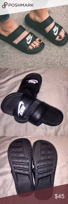 ◾️ BRAND NEW NIKE BENASSI DUO SLIDES ◾️ These slides are brand new, super stylish and comfortable. Perfect for spring & summer. I bought these, wore them for less than a day and realized I just didn't need them. Nike Shoes Sandals