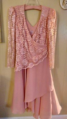VINTAGE Formal Dress Size 16 Pink Mother of Bride Cocktail Spring Dress