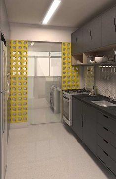 decoração para cozinha integrada com lavanderia com cobogó cerâmico amarelo Kitchen Room Design, Modern Kitchen Design, Home Decor Kitchen, Interior Design Kitchen, Home Kitchens, Modern Kitchen Cabinets, Kitchen Models, Apartment Kitchen, Sweet Home