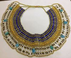 CLEOPATRA NECKLACE COLLAR EGYPTIAN Vintage Beaded Costume Halloween Queen Style
