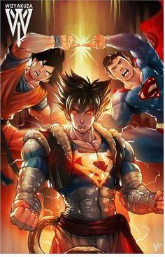 Aqui en esta se ve a goku y superman que se fucionan y forman supergoku y se vueve mas aspero