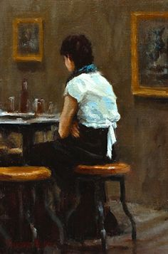 Her Seat at the Cafe by Pauline Roche Oil ~ 9 x 6