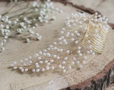 Bridal hair comb wedding hair comb freshwater pearl comb