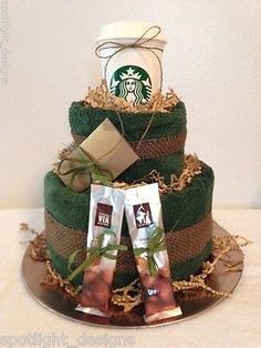 Starbucks Coffee Lovers Gift Arrangement (With 5 dollar gift card) Towel Cake, Any Occasion by SpotlightDesignCo on Etsy
