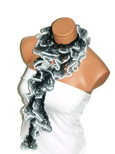 The scarf is knitted with gray multicolor soft by WomanStyleStore, $17.00