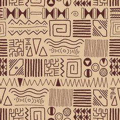 Illustration of African ethnic pattern - tribal art background. vector art, clipart and stock vectors. Tribal Pattern Art, African Tribal Patterns, Art Tribal, Textile Pattern Design, African Textiles, Ethnic Patterns, Cultural Patterns, Afrique Art, Tribal Symbols