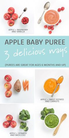 Apple Baby Puree 3 Delicious Ways! Using apples as the base ingredient, you can . - Babyzubehör -, Babyzubehör Apple Baby Puree 3 Delicious Ways! Using apples as the base ingredient, you can . Toddler Meals, Kids Meals, Toddler Food, Snacks Kids, Apple Baby Food, Apple Puree For Baby, Sweet Potato Puree Baby, Food Baby, Baby Food Guide