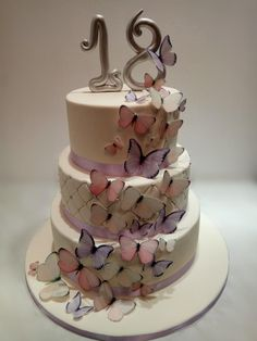 Birthday cake with butterflies by Gabriela Doroghy