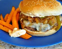 Fajita Burgers Recipe is just as good as the Mexican Favorite dish but all on a bun.