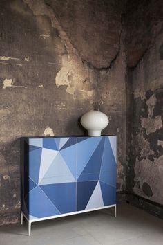 Geometric wallpaper (for cabinet?)