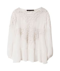 THIS though. I'm totally in love with this top. I have an obsession with different iterations of lacy white blouses, and this is unique and gorgeous!! Dream piece!!!