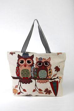 """Υφασμάτινη Τσάντα """"Κουκουβάγιες"""" Reusable Tote Bags, Fashion, Moda, Fashion Styles, Fashion Illustrations"""