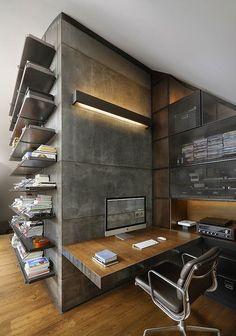 Concreto e madeira para um home office industrial