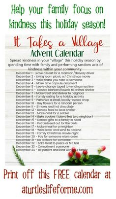 It Takes a Village Advent Calendar helps your family and kids focus on the real reason of the season! Free Christmas printable for random acts of kindness advent. Advent Calendar Activities, Advent Calendars For Kids, Kids Calendar, Christmas Activities, Reverse Advent Calendar, Advent Calendar Fillers, Advent For Kids, Advent Calenders, Diy Advent Calendar