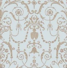 Regalia (98/12053) - Cole & Son Wallpapers - Inspired by the Crown Jewels housed at The Tower of London, this graceful damask style reflects the delicate decoration within the historic royal palaces. Shown here in pale duck egg with metallic bronze detailing. Other colourways are available. Please request a sample for a true colour match. Paste the wall product.