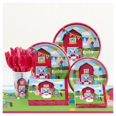 Your little one's favorite farm animals will complete the special day with the Creative Converting Farmhouse Fun Birthday Party Tableware Kit. Featuring a farmhouse and animals, the festive set includes plates, cups, cutlery, and more. Farm Animal Birthday, 1st Boy Birthday, Boy Birthday Parties, Petting Zoo Birthday Party, Kit, 1st Birthday Party Supplies, Birthday Ideas, Farm Fun, First Birthdays