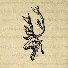 Digital Image Reindeer Deer Graphic by VintageRetroAntique on Etsy
