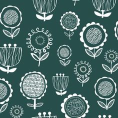 NEW IN from SewSister Scandi Flowers in Teal Blue