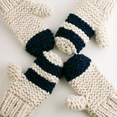 Garter Stitch Chunky Mittens By Flax & Twine | Anne B. Weil - Free Knitted Pattern - (ravelry)