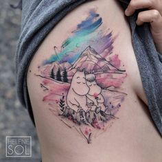 Moomin Tattoo, Nice Tattoos, Aesthetic Tattoo, Inspiration Tattoos, Tattoo Ink, Watercolor Tattoo, Tatting, Body Art, Tattoo Designs
