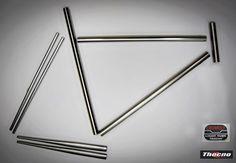 ST-254 Per telai dimensioni classiche a congiunzioni Tubo orizzontale Ø 25.4 x 650 triplo spessore 0.9/0.6/0.9  1 pezzo. Tubo obliquo Ø 28.6 x 670 triplo spessore 0.9/0.6/0.9  1 pezzo.  Tubo verticale Ø 28.6 x 650 doppio spessore 0.9/0.6 (cannotto sella Ø 27.2) 1 pezzo.  Tubo sterzo Ø 31.7 x 200  1 pezzo.  Tubo posteriore orizzontale Ø 22.2 x 450 x 1 conificato 12.5  2 pezzi.  Tubo posteriore verticale Ø 14 x 570 x 0.7 conificato Ø 12.5  2 pezzi. Materiale acciaio Cr-Mo 4130 o 25Cr-Mo 4