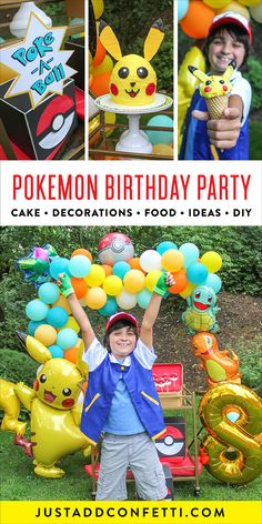 "This Pokemon Birthday Party is so much fun! It's full of so many creative ideas for Pokemon party decorations, cake, food and games! Be sure to check out the Pikachu cake, ""Poke-a-Ball"" Pokemon punch boxes, Pikachu ice cream, and Pokemon Oreo Pops!"