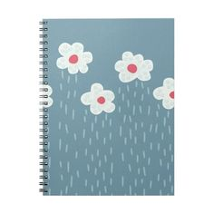 Beautiful Decorative Flower Pattern Rain Clouds Spiral Notebook ($15) ❤ liked on Polyvore featuring home, home decor, stationery, flowers and rain