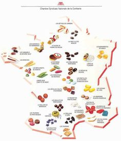 Carte de France des bonbons - map of the speciality sweets that you'll find in the different regions of France French Teacher, French Class, French Lessons, Teaching French, French Trip, Learn French Fast, French Resources, French Food, French Sweets