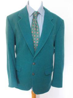 "Vintage mens Remus Uomo green checked Blazer jacket sports jacket checked 40""…"