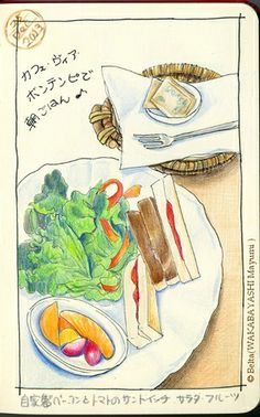 2013_12_25_sandwich_01_s for this drawing I used: Faber castell polychromos Moleskine sketchbook  © Belta(WAKABAYASHI Mayumi )