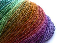 hand spun, rainbow yarn