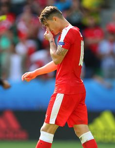 A dejected looking Granit Xhaka of Switzerland after he misses his penalty during the UEFA EURO 2016 Round of 16 match between Switzerland v Poland. Uefa European Championship, European Championships, Granit Xhaka, Uefa Euro 2016, World Football, Arsenal, Switzerland, Poland, Soccer