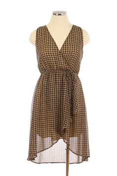 Swept Away Houndstooth Chiffon Plus Size Dress In Taupe