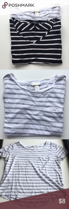 🖤Bundle of well loved striped tees One is from H&M and is white with heather grey stripes. Size XS but would fit a small. Small pocket on the chest and a curved hem. Some staining under the arms and a hole from my belt on the front. The other is Soprano brand bought from Nordstrom. No size tag but is loose and boxy and would fit a small. Good condition except for a small hole in the back shoulder! Soprano Tops Tees - Short Sleeve